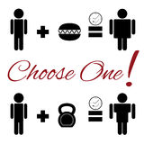 Set of lifestyle choice pictograms Stock Photos