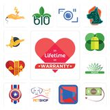 Set of lifetime warranty, money back guarantee, mobile silent, petshop, captain america, agave, volunteer fire department, os a, g. Set Of 13 simple editable Stock Photography