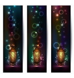 Set light banners with arabic lantern Royalty Free Stock Image
