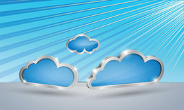 Set of light blue clouds on stripped sky backgroun Royalty Free Stock Image