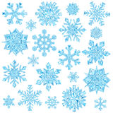 Set of light blue crystal snowflakes isolated on white. Background. High resolution 3D image Royalty Free Stock Image