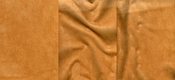 Set of light brown suede leather textures. For background Royalty Free Stock Photos