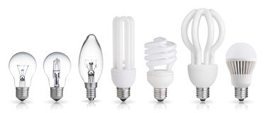 Set of light bulb. Set of incandescent, halogen, compact fluorescent, LED light bulbs on white background Royalty Free Stock Photo