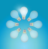 Set of light bulb in a circle. illustration design Royalty Free Stock Image