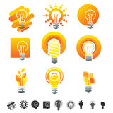 Set of 12 light bulb icons. Set of 12 light bulb icons, electricity symbols and silhouettes Royalty Free Stock Image