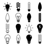 Set of light bulb icons, lamp. Vector illustration royalty free illustration