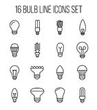 Set of light bulb icons in modern thin line style. Royalty Free Stock Images