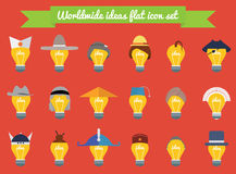 Set of light bulb ideas in national hats and haircuts flat design. Icons of worldwide creativity, ideas, knowledge and education. Royalty Free Stock Photos