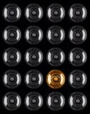 Set of Light bulb illuminated isolated on black Royalty Free Stock Image