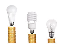 Set of Light Bulb LED  CFL Fluorescent  isolated on white. Background Stock Image