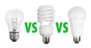 Set of Light Bulb LED  CFL Fluorescent  on white Stock Images