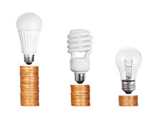 Set of Light Bulb LED  CFL Fluorescent  on white. Set of Light Bulb LED  CFL Fluorescent  isolated on white background Stock Images
