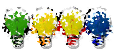 Set light bulb. White Background with  abstract light bulb Stock Photos