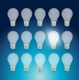 Set of light bulbs and one bright idea. Stock Photos