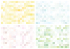 Set of light fantastic mosaic. Yellow, green, purple and blue abstract pixels puzzles Stock Photo