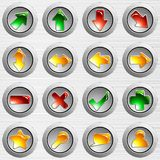 Set of light grey brushed steel buttons Stock Image