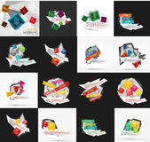 Set of light, paper design option infographic Stock Photos