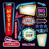 Set of light signs, boards and arrows. Retro neon banners for advertising stock illustration