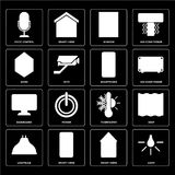 Set of Light, Smart home, Lightbulb, Thermostat, Dashboard, Smartphone, Home, Window, Voice control icons. Set Of 16 icons such as Light, Smart home, Lightbulb vector illustration