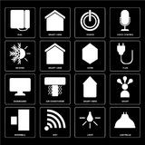 Set of Lightbulb, Light, Doorbell, Smart home, Dashboard, Home,. Set Of 16 icons such as Lightbulb, Light, Wifi, Doorbell, Smart, Dial, Heating, Dashboard, Home Vector Illustration