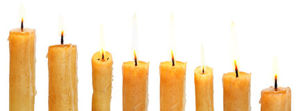 Set of lighted candles close up Royalty Free Stock Image