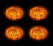 Set of lighted Jack-O-Lanterns (Halloween pumpkins). Vector eps-10. Vector set of four lighted Jack-O-Lanterns (Halloween pumpkins) on a black background Stock Photo