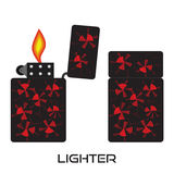 Set of lighters. Vector isolated icon of lighter with fire. Set of lighters. Flat  isolated icon of lighter with fire Royalty Free Stock Images