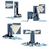 Set of lighthouse icons. Royalty Free Stock Photo