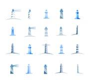 Set of lighthouses, icons logo set Stock Image