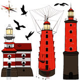 Set of lighthouses Royalty Free Stock Photos