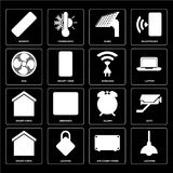 Set of Lighting, Air conditioner, Smart home, Alarm, Wireless, F. Set Of 16 icons such as Lighting, Air conditioner, Locking, Smart home, Cctv, Remote, Fan Vector Illustration