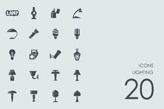 Set of lighting icons. Lighting vector set of modern simple icons Royalty Free Stock Photography