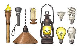 Set lighting object. Torch, candle, flashlight, different types electric lamps. Set lighting object. Torch, candle, flashlight, retro gas lamp, light Stock Images