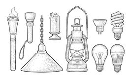 Set lighting object. Torch, candle, flashlight, different types electric lamps vector illustration