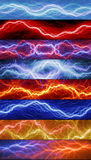 Set of lightning banners. Set of eight abstract lightnings Stock Photo