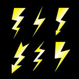 Set of lightning on black Stock Photography