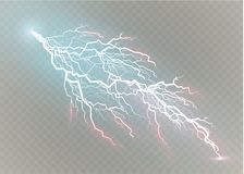 A set of lightning Magic and bright light effects. Vector illustration. Discharge electric current. Charge current. Natural phenomena. Energy effect Royalty Free Stock Images