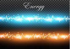 A set of lightning Magic and bright light effects. Vector illustration. Discharge electric current. Charge current. Natural phenomena Stock Photo