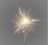 A set of lightning Magic and bright light effects. Vector illustration. Discharge electric current. Charge current. Natural phenomena. Energy effect Stock Photography