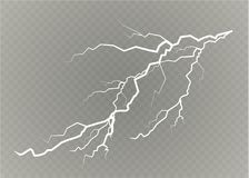 A set of lightning Magic and bright light effects. Vector illustration. Discharge electric current. Charge current. Natural phenomena. Energy effect Royalty Free Stock Photography