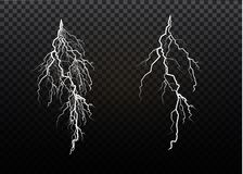 A set of lightning Magic and bright light effects. Vector illustration. Discharge electric current. Charge current. Natural phenomena. Energy effect Royalty Free Stock Photos