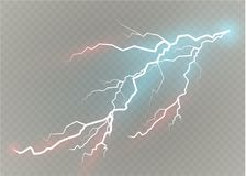 A set of lightning Magic and bright light effects. Vector illustration. Discharge electric current. Charge current. Natural phenomena. Energy effect Stock Photos