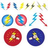 Set of 14 lightning. On white background Royalty Free Stock Photography