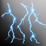Set of lightnings. EPS 10 Stock Photos