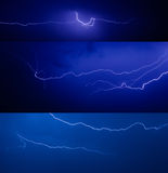 Set of lightnings Royalty Free Stock Photos