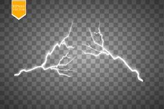 Set of lightnings. Thunder-storm and lightnings. Magic and bright lighting effects. Stock Photos