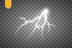 Set of lightnings. Thunder-storm and lightnings. Magic and bright lighting effects. Stock Photo