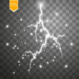 Set of lightnings. Thunder-storm and lightnings. Magic and bright lighting effects. Royalty Free Stock Image