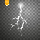 Set of lightnings. Thunder-storm and lightnings. Magic and bright lighting effects. Royalty Free Stock Photography