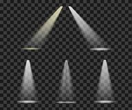 Set lights to ligh the lighting scene bright shining refelectors. Isolated vector on transparent background Royalty Free Stock Photography